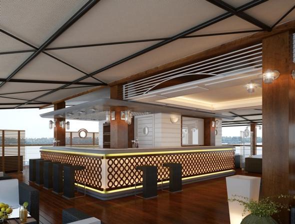 Il Lounge Bar sulla nave
