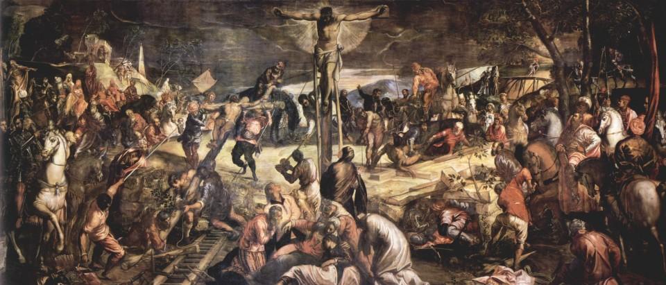 Crocifissione di Jacopo Tintoretto, uno dei pittori presenti