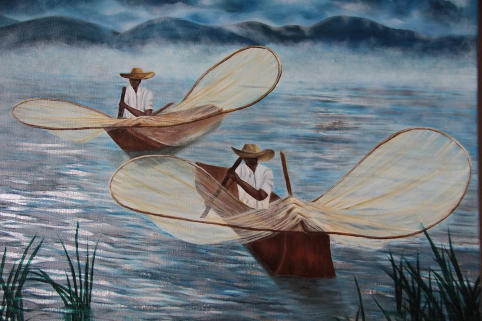 I pescatori Tarasco davanti all'Hacienda Ucazanaztacua-IMG_0964