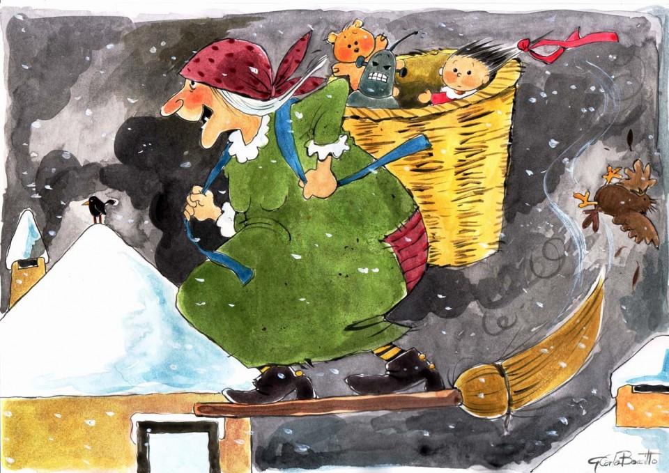 La befana usa la scopa al posto degli sci. Travestirsi da Befana è sempre un'idea