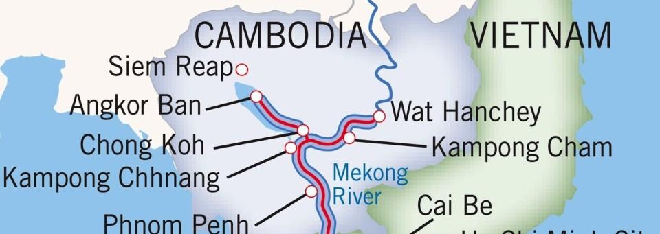 Si vede la via del Mekong in Cambogia