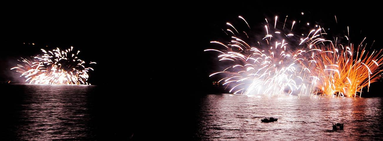 Fuochi d'artificio visti dall'acqua