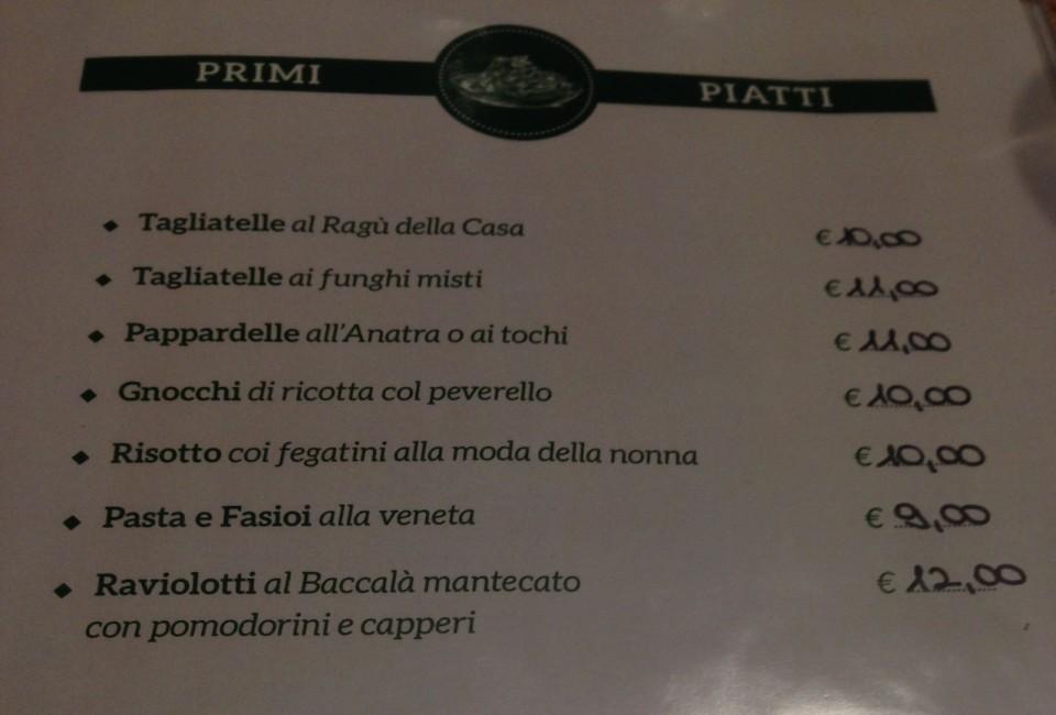 I primi in menu