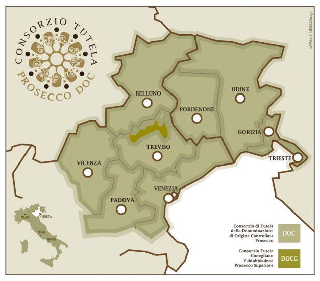 Cartina area Prosecco DOC