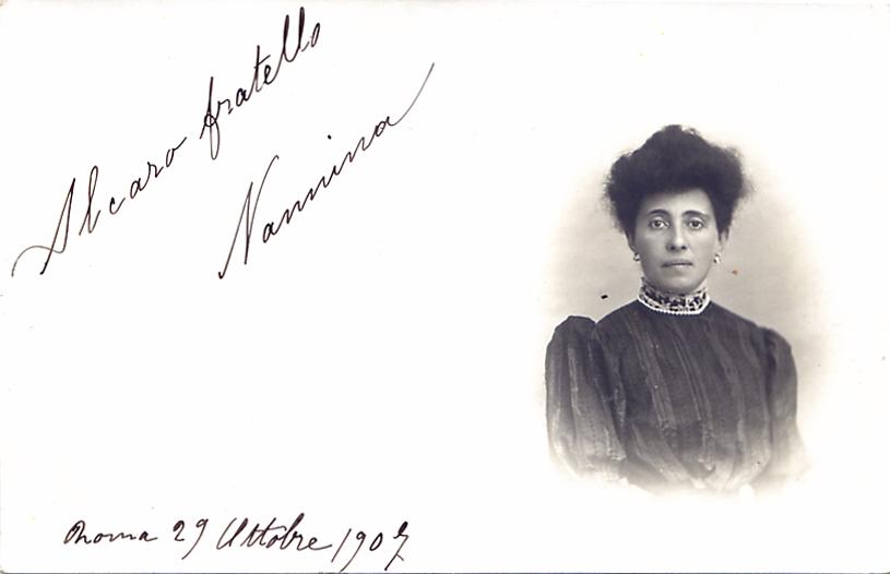 Una delle prime cartoline (con il saluto e la firma in originale)