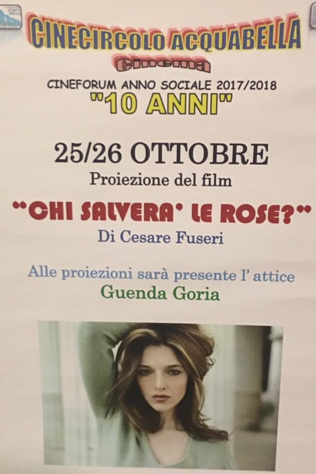 La locandina che lo ha presentato a Milano in prima assoluta in Lombardia al Cineforum Acquabella di via Goldoni 75