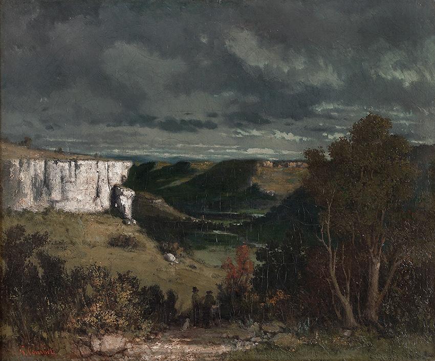 La valle della Loue con cielo di tempesta