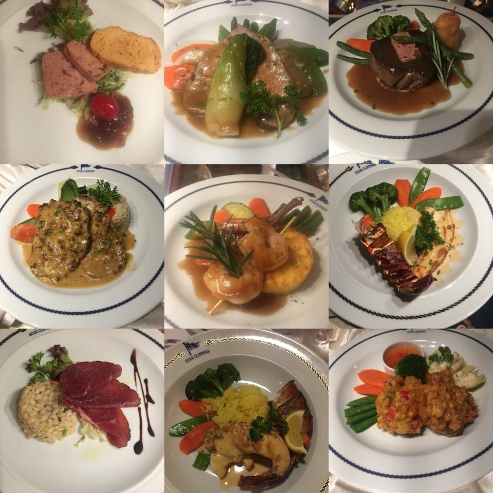 Collage di ricette durante una classica cena a bordo