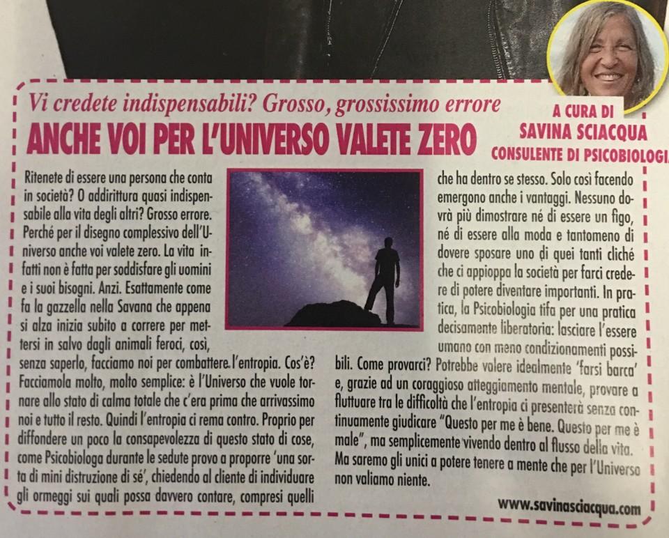 L'articolo pubblicato su ADESSO, settimanale nazionale italiano
