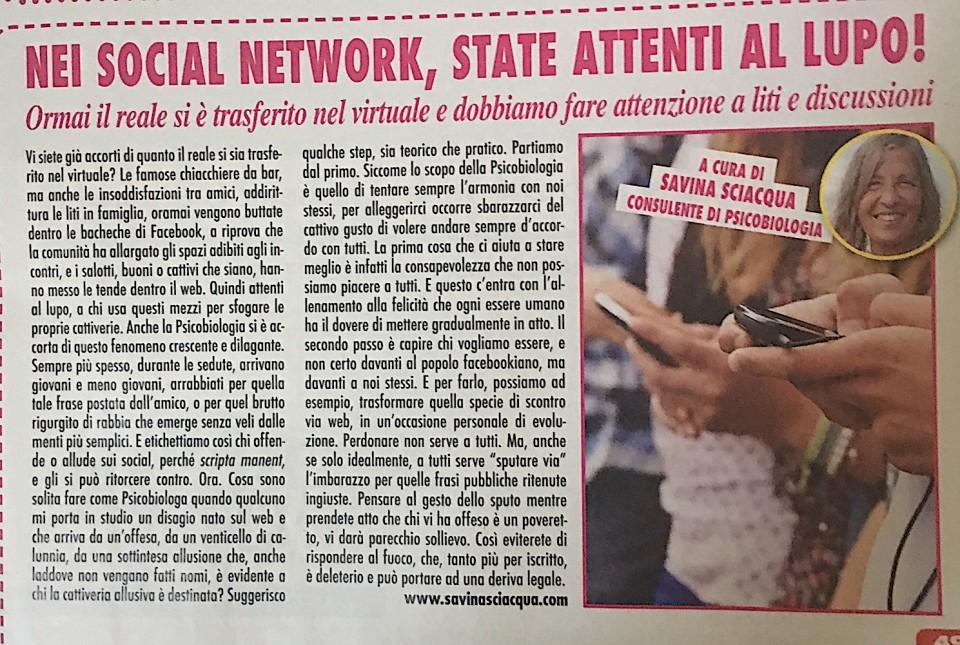 """Rubrica uscita sul settimanale nazionale """"ADESSO"""""""