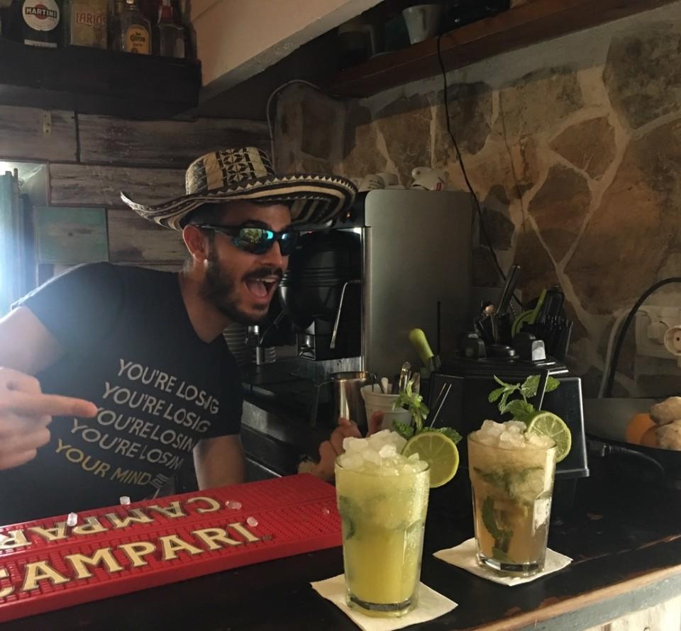 Bar San Ciriaco con uno dei  tre soci sardi